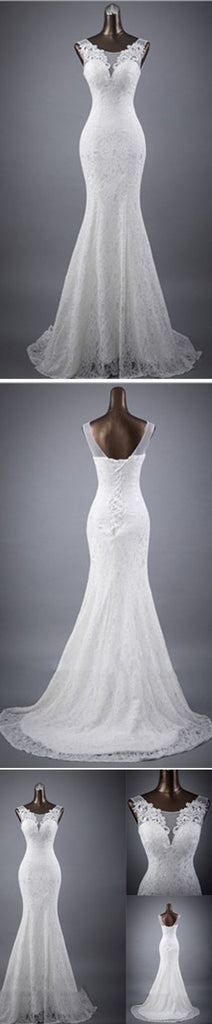 Elegant Sleeveless Mermaid Lace Up Popular White Lace Wedding Dresses, WD0142 - Wish Gown