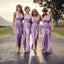 Charming Mismatched Pleating Different Styles Lilac Floor Length Cheap Wedding Guest Dresses, WG145 - Wish Gown
