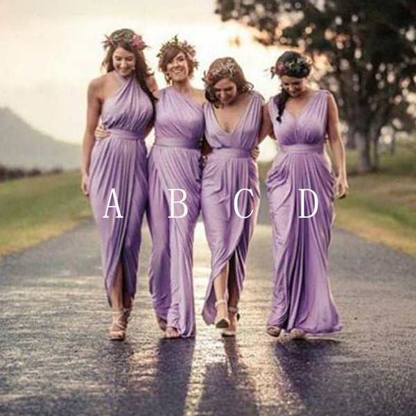 Charming Mismatched Pleating Different Styles Lilac Floor Length Cheap Wedding Guest Dresses, WG145