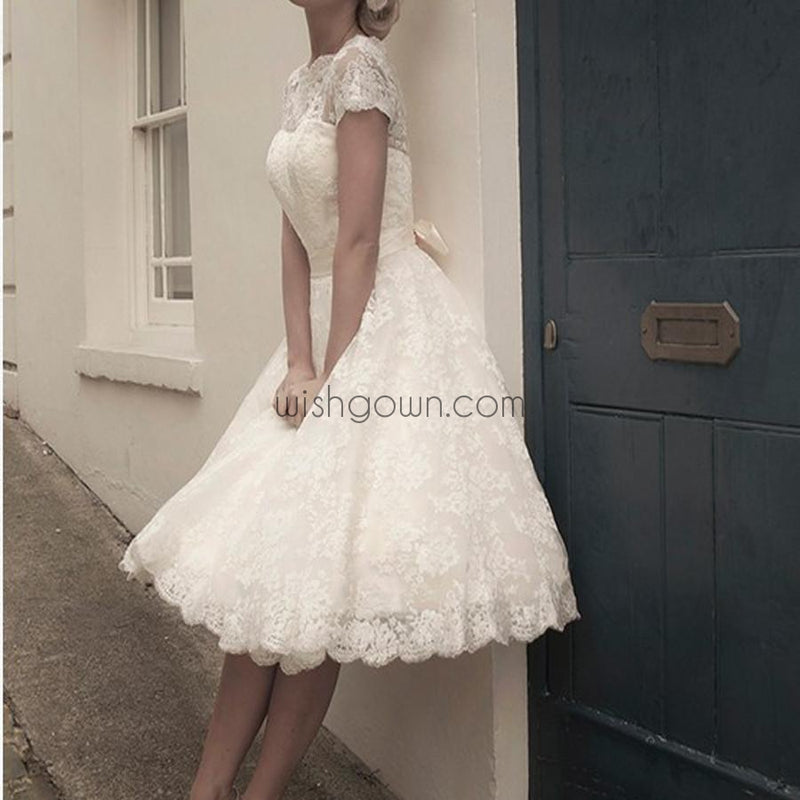 New Arrival lace with short sleeve knee-length elegant casual homecoming prom gown dresses, BD00149