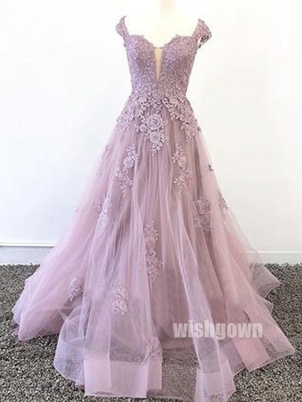 Elegant Off Shoulder Sweet Heart Formal Floor-Length Lace Top Tulle Zipper Back Cheap Bridesmaid Dresses For Wedding, WG19