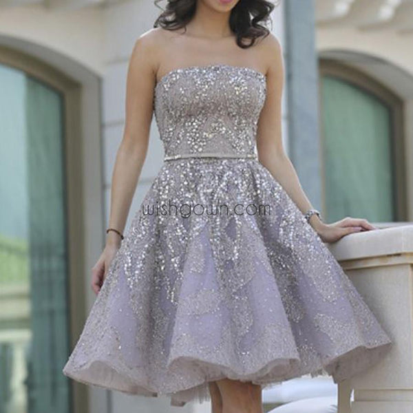 Popular Grey strapless Gorgeous Straight Neck A-line homecoming prom gown dress,BD00151