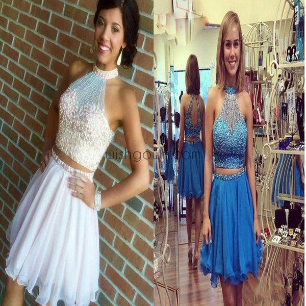 2017 Popular halter off shoulder two pieces beaded freshman homecoming prom dresses, BD00158