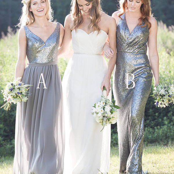 Gorgeous High Quality Mismatched Styles Sequin Long Cheap Wedding Party Dresses, WG161 - Wish Gown