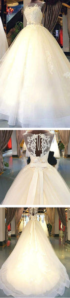 Cheap Popular Stunning Ivory Lace Top A-line Wedding Dresses, Bridal Gown, WD0017 - Wish Gown