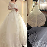 Stunning Long Sleeve Unique Design Ball Gown Lace Wedding Dresses, WD0179