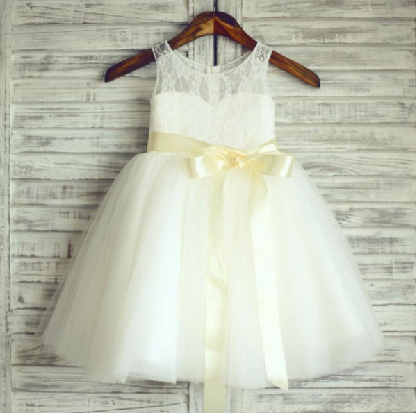 Lace Tulle Pretty Flower Girl Dresses, Weding Little Princess Girl Dresses, FGS017