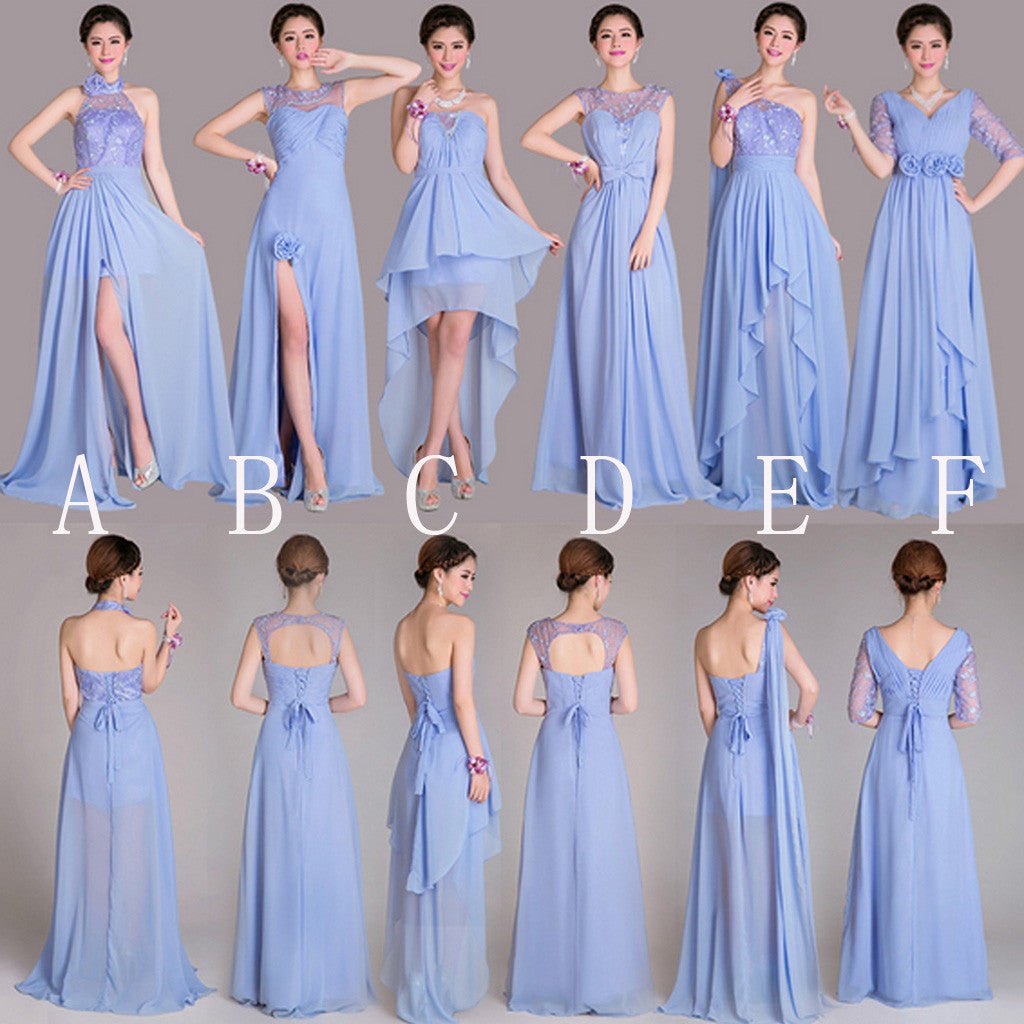 Beautiful Mismatched Differeent Styles A Line Lace Up Back Inexpensive  Long Bridesmaid Dresses for Wedding, WG189 - Wish Gown