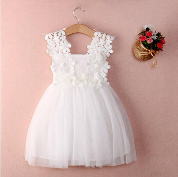 Cute V Neck Tulle Ivory Mini Flower Girl Dresses, Weding Cheap Little Girl Dresses, FGS019 - Wish Gown