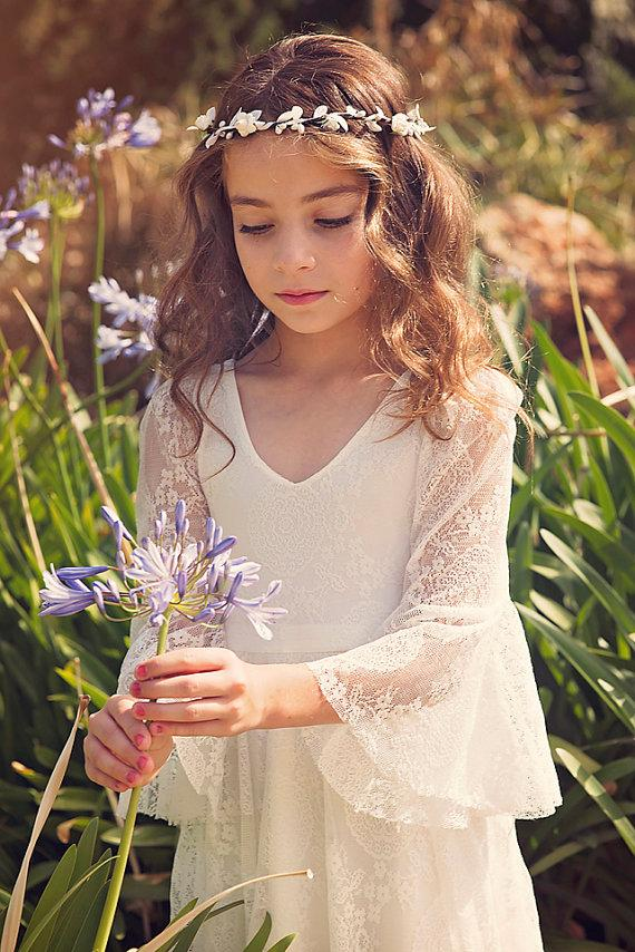 Boho Long Sleeve A-line Lace Flower Girl Dresses, Lovely Little Girl Dresses, FG063 - Wish Gown