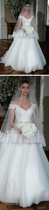 Popular Off Shoulder Long A-line Lace Top White Tulle Beaded Wedding Dresses, WD0191