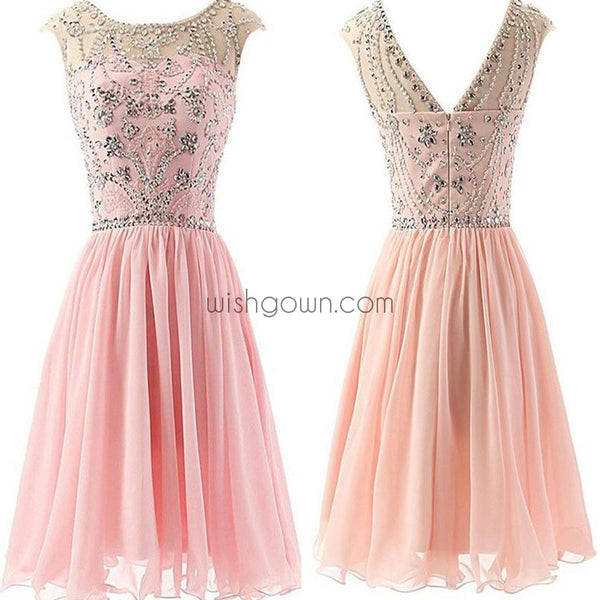 Fashion Blush Pink Beaded Chiffon cute graduation homecoming dresses, BD00194