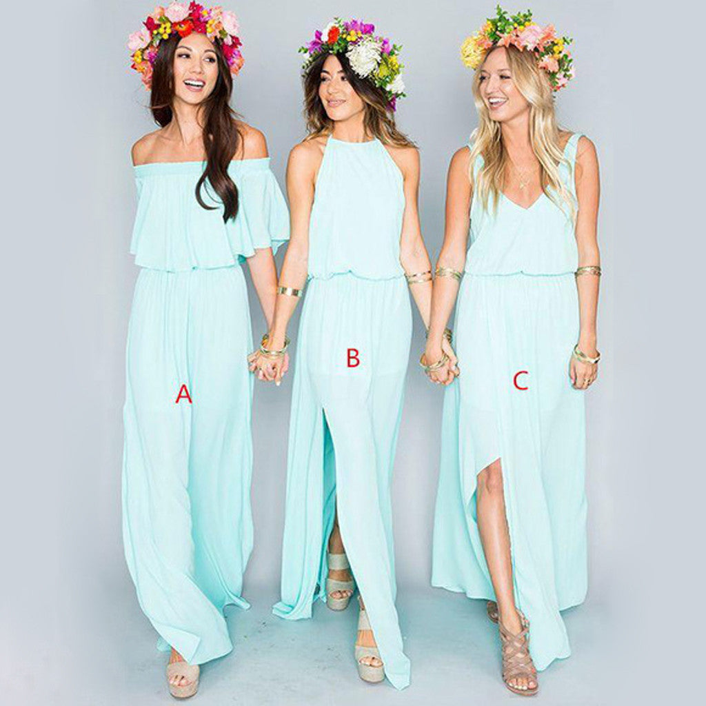 Pretty Young Junior Tiffany Blue Mismatched Different Styles Side Split Cheap Long Bridesmaid Dresses, WG197