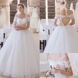 Vantage Off Shoulder Short Sleeve Lace Top Open Back Tulle Wedding Dresses, WD0197