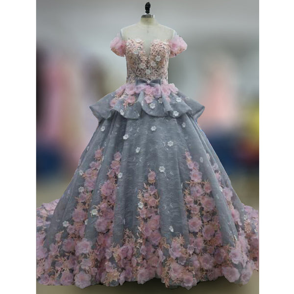 Charming Cap Sleeve Affordable Long Evening Prom Dresses Ball Gown with Flowers, WG1004 - Wish Gown