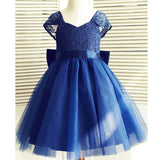 Royal Blue Cap Sleeves Lovely Weding Little Girl Flower Girl Dresses with Bow, FGD001