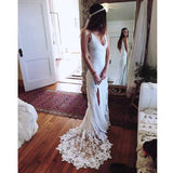 Simple Long A-Line V-back Lace Wedding Dresses, Lace Wedding Party Dresses, WD0013