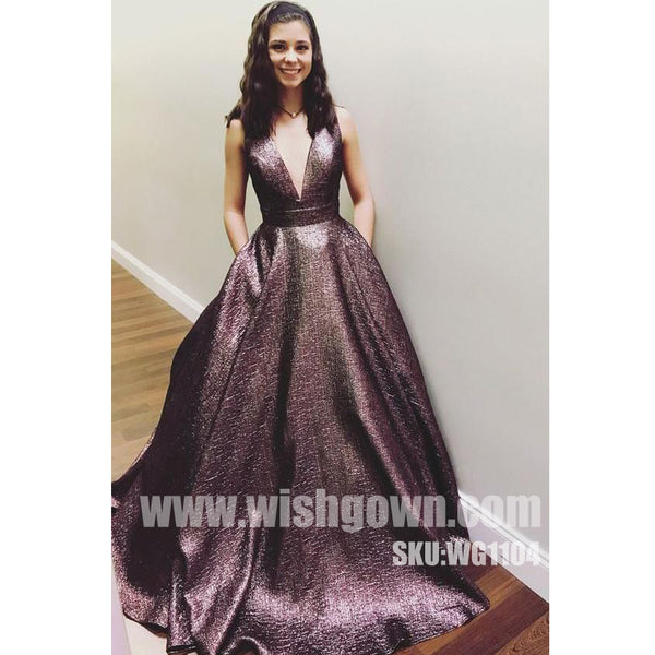 Popular V Neck Elegant Evening Fashion Cheap Long Prom Dresses, WG1104