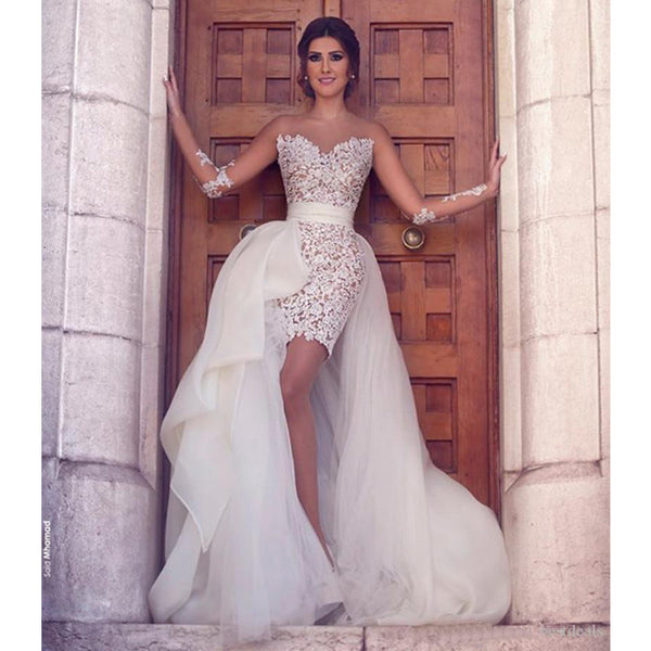 Long Sleeves Two Pieces Sexy Lace Applique Wedding Dress, WG650