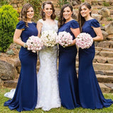 Women Elegant Cap Sleeve Royal Blue Mermaid Long Wedding Party Dresses, WG151