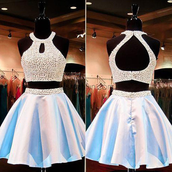 Two Pieces Beaded Sexy Open Back homecoming prom dresses, CM0015