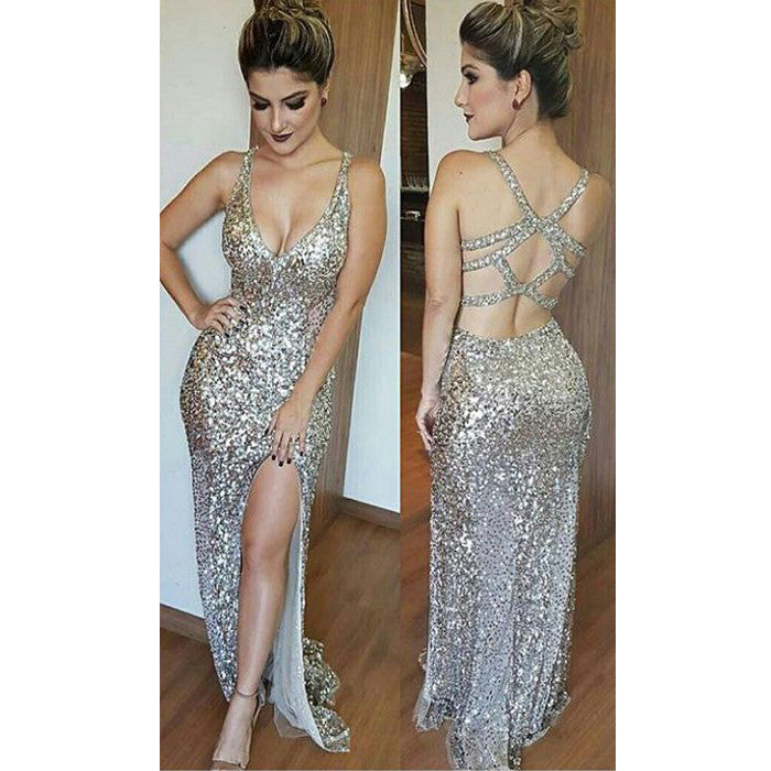 Sexy Open Back Side Split Shinning Gorgeous Evening Long Prom Dresses, WG741