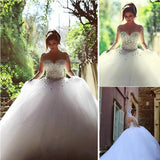 Gorgeous Illusion Long Sleeve Beaded Rhinestone Lace Up Ball Gown Wedding Dress, WD0200 - Wish Gown