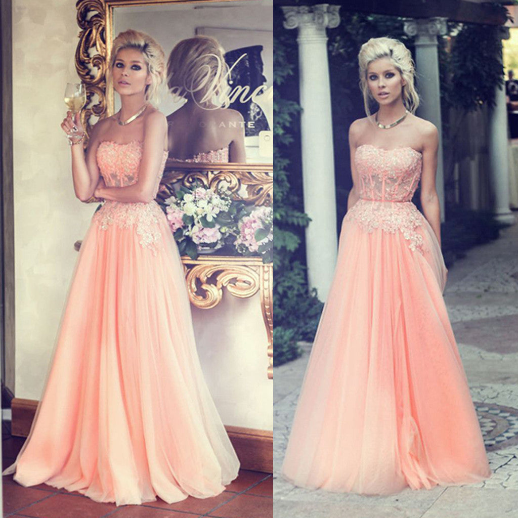 Charming Floor Length Sweet Heart Junior Tulle Affordable Long Prom Dresses with Applique, WG204 - Wish Gown