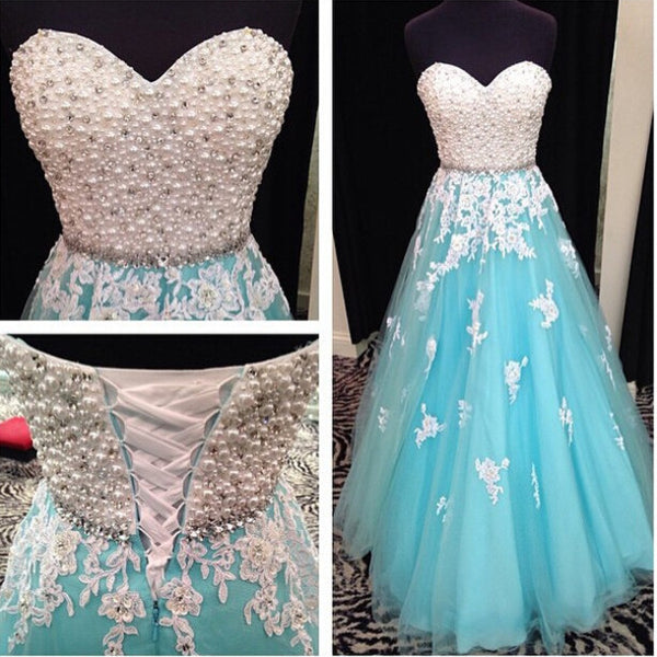 Beaded Sweet Heart Blue Lace Up Back Pretty Long Prom Dress Ball Gown, WG211 - Wish Gown