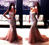 Sparle Gorgeous Shinning Mermaid Sexy Straight Neck Long Prom Dresses, WG217