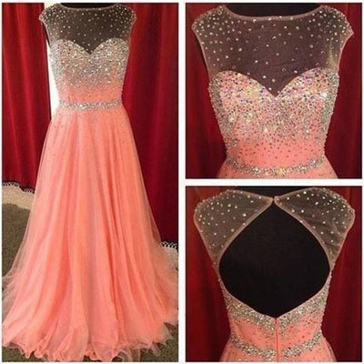 Open Back Beautiful Cap Sleeve Peach Sparkle Inexpensive Evening Long Prom Dresses, WG219
