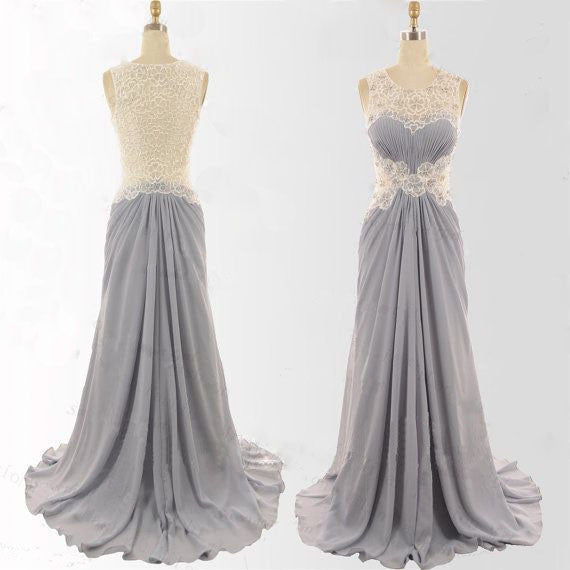 Charming Gray Ivory Formal Maxi Cheap Sleeveless Elegant Long Prom Dresses, WG222 - Wish Gown