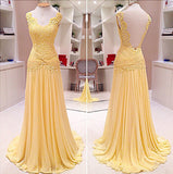 Yellow Lace See Through Back Formal Chiffon Pretty Elegant Long Prom Dresses, WG236