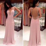 Simple Elegant Junior See Through Back Deep V Neck Pink Cheap Long Prom Dresses, WG240
