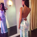 Charming Sexy Mermaid Open Back Blue Lace Unique Affordable Long Prom Dresses, WG242 - Wish Gown