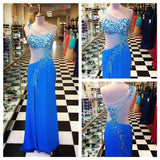 New Arrival Unique Design One Shoulder Side Split Blue Sexy Long Prom Dresses, WG252