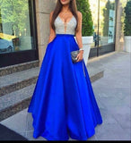 Roayl Blue Satin High Quality Cheap Custom Make Online Evening Party Long Prom Dresses, WG255