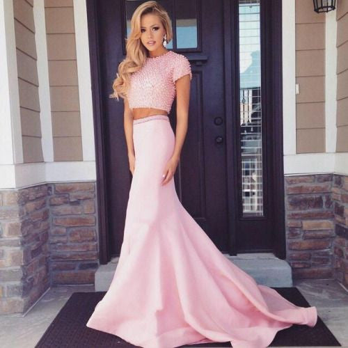 Sexy Pink Two Pieces Beaded Short Sleeve Mermaid Cheap Long Prom Dresses, WG257