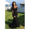 Black Sexy Mermaid Long Sleeves Lace Elegant Long Prom Dress, WG562