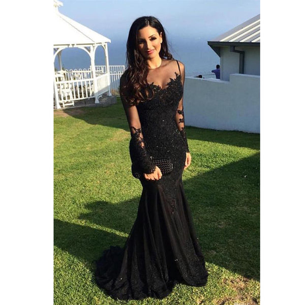 Black Sexy Mermaid Long Sleeves Lace Elegant Long Prom Dress, WG562 - Wish Gown