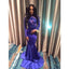 Royal Blue Long Sleeves See Through Sexy Mermaid Applique Long Evening Prom Dresses, WG260