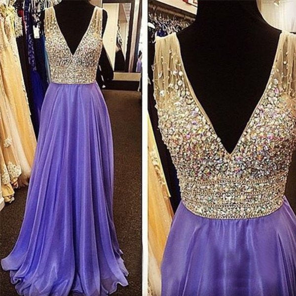 Junior Young Heavy Beaded Sparkle V Neck A Line Cheap Long Prom