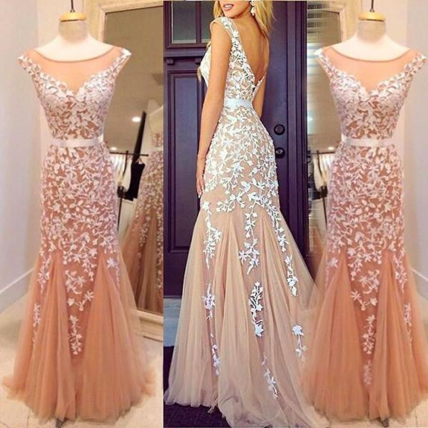 Charming Mermaid Applique Cap Sleeve V Back Inexpensive Long Evening Prom Dress, WG268 - Wish Gown