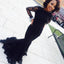 Black Mermaid Lace Long Sleeve Sexy Affordable Long Evening Party Prom Dress, WG269