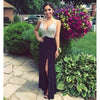 Sexy Black Side Split Formal Shinning Junior Stunning Cheap Long Prom Dresses, WG272