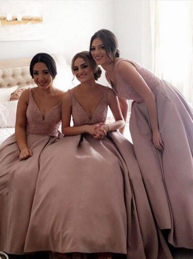 Gorgeous Pretty New Arrival Off Shoulder V-Neck Sparkly Long Bridesmaid Ball Gown, WG69 - Wish Gown