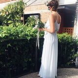 Simple Cheap Spaghetti Strap Chiffon Beach Long Cheap Bridesmaid Dresses, WG487
