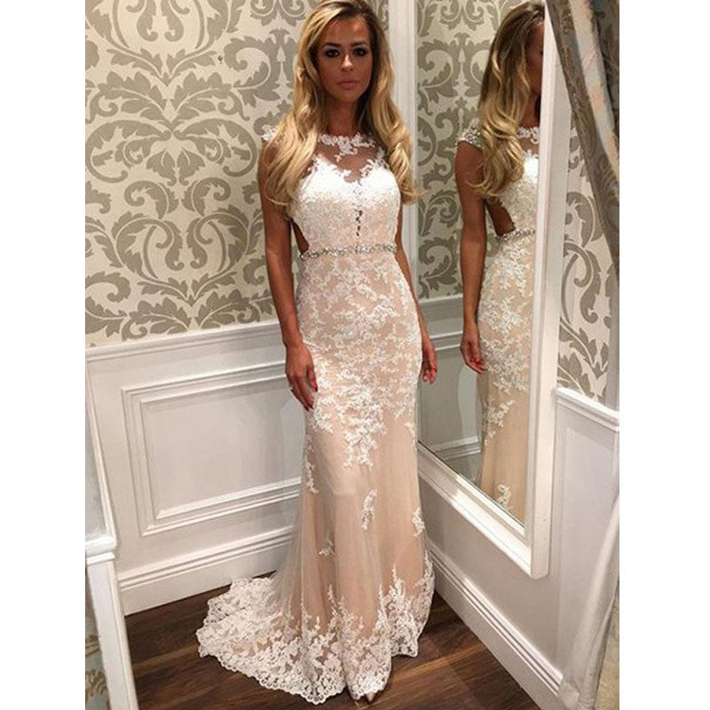 Charming Lace Formal A Line Cheap Custom Make Elegant Long Prom Dresses, WG281 - Wish Gown