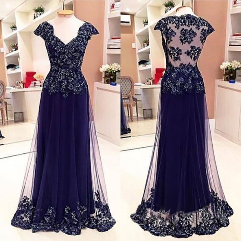 Cap Sleeve See Through Back Elegant Cheap Lace Sexy Long Prom Dresses, WG284