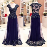 Cap Sleeve See Through Back Elegant Cheap Lace Sexy Long Prom Dresses, WG284 - Wish Gown